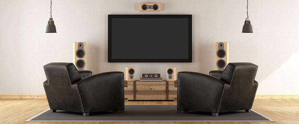 Surround speakers in a home theater room