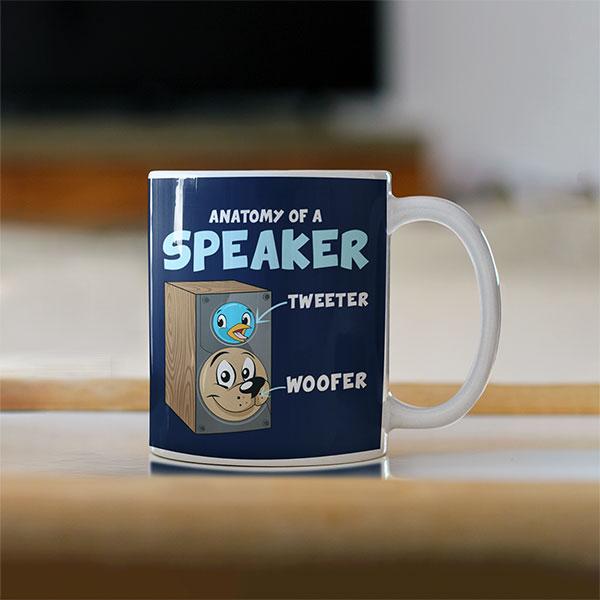Funny Anatomy Of A Speaker Mug For Audiophiles