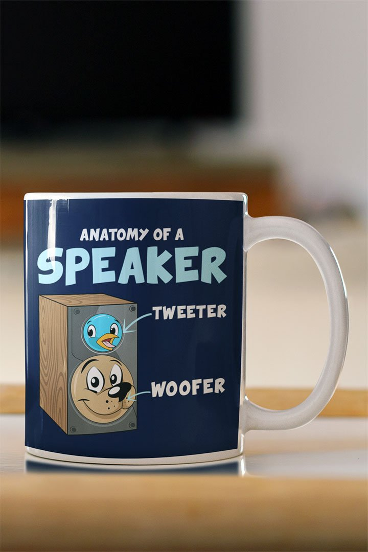 Funny Anatomy of A Speaker Mug for Audiophiles