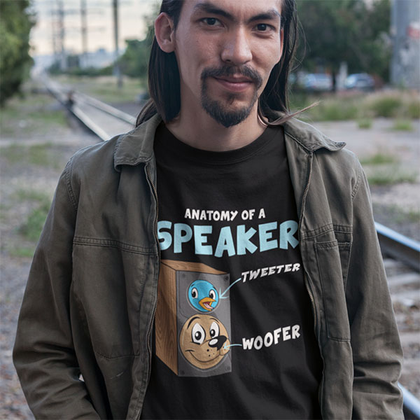 Funny Anatomy Of A Speaker T-Shirt For Audiophiles