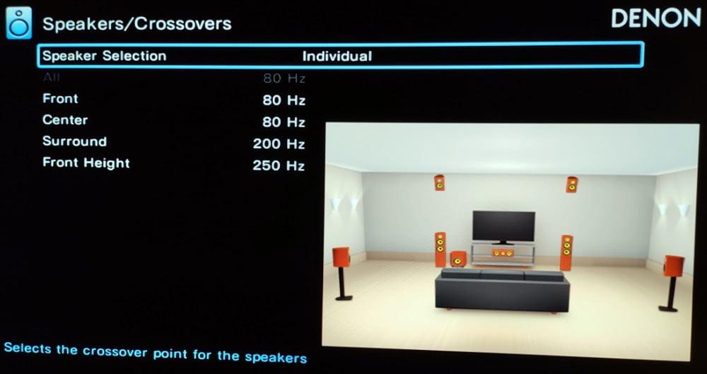 Changing The Speaker Crossover Ina N Av Receiver's Setup Menu