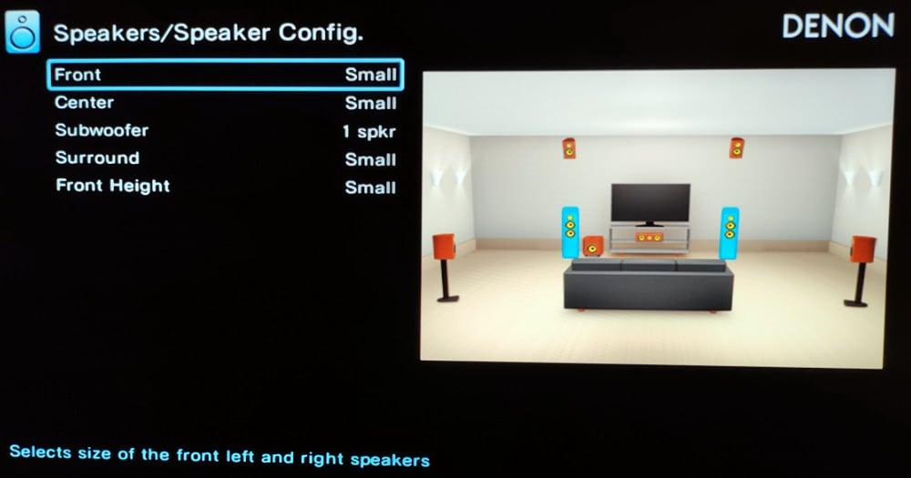 Changing The Speaker Size In An Av Receiver Setup Menu