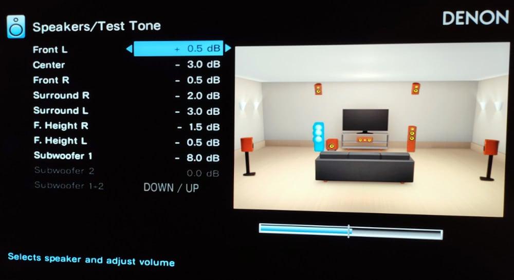 Changing Speaker Volumes In Av Receiver Speaker Menu