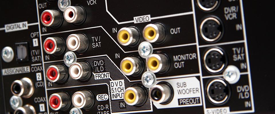 AV Receiver Power Ratings Explained - connections on the back on an AV amplifier