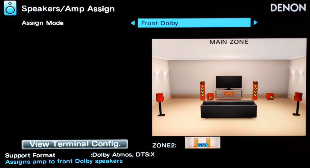Selecting front Dolby Atmos-enabled speakers in the AV receiver