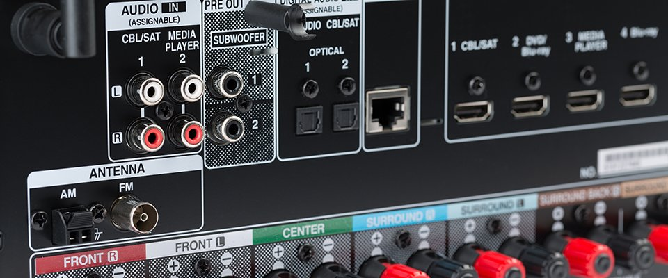 Which Are the Best AV Receivers Under $1000? - audio inputs and outputs on the rear of an AV receiver