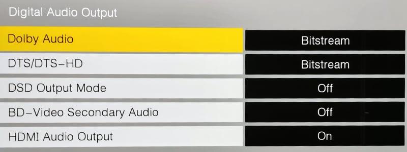 Blu-ray Player bitstream settings in audio menu