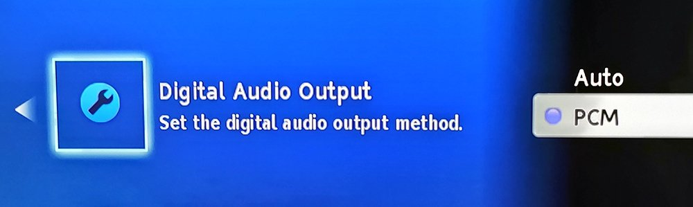 Bitstream/Auto and PCM Setting in a Blu-ray Player Audio Menu