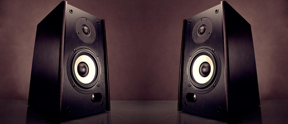 A pair of bookshelf speakers