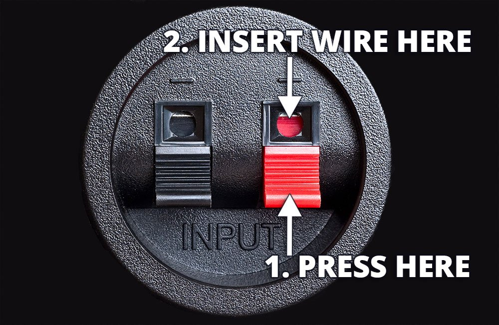How To Connect Speaker Wire To A Spring Clip Connection