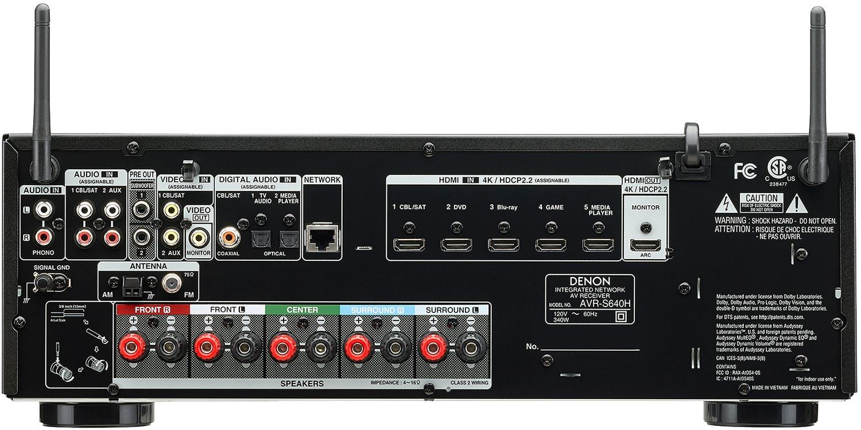 Denon AVR-S640H 5.2-Ch AV Receiver - Rear View