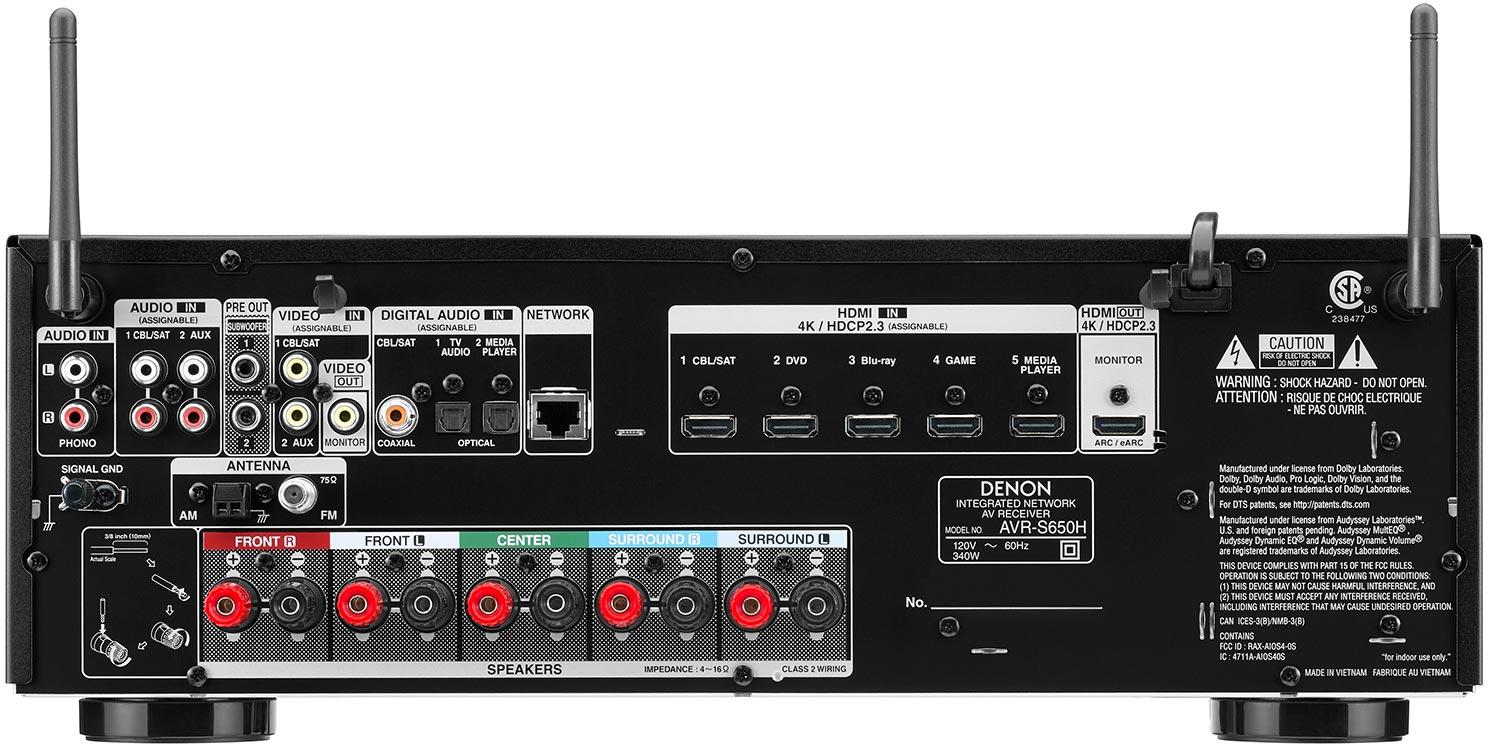 Denon AVR-S650H 5.2-Ch AV Receiver - Rear View