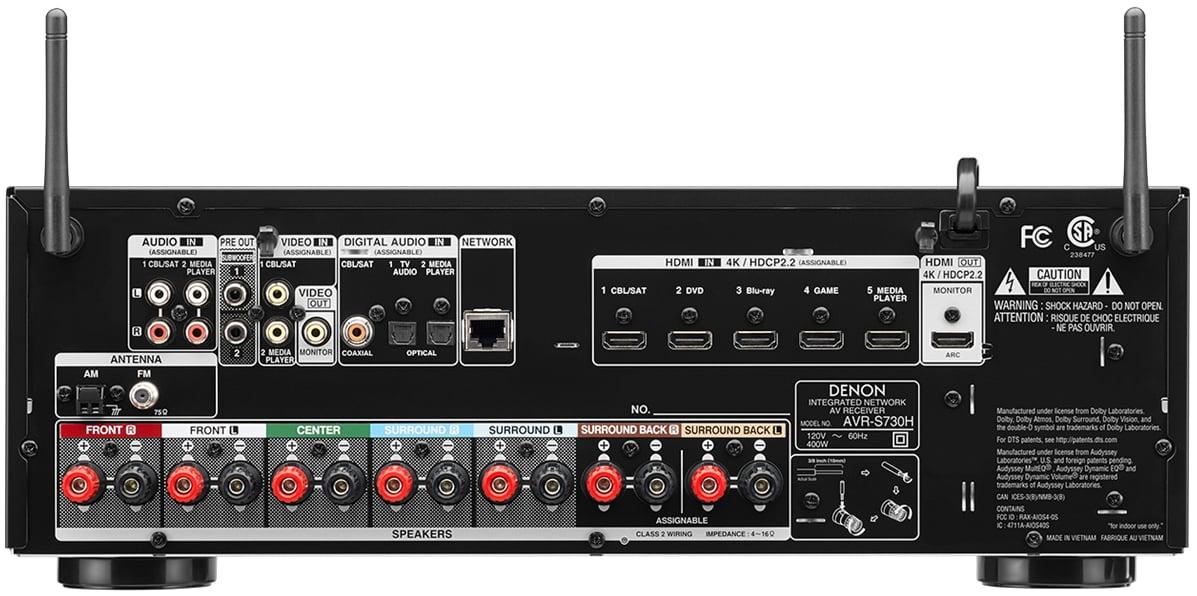 Denon AVR-S730H 7.2-Ch AV Receiver - Rear View