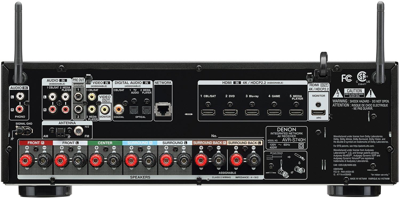Denon AVR-S740H 7.2-Ch AV Receiver - Rear View