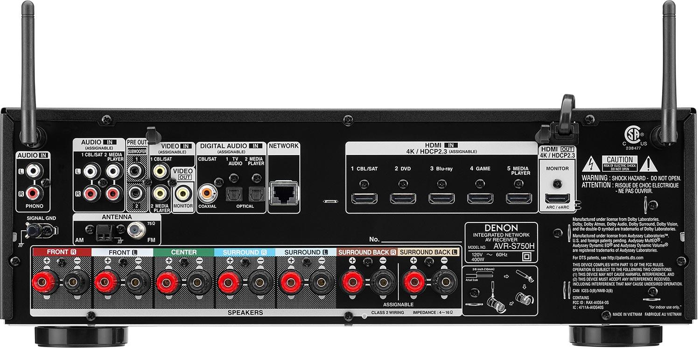 Denon AVR-S750H 7.2-Ch AV Receiver Rear