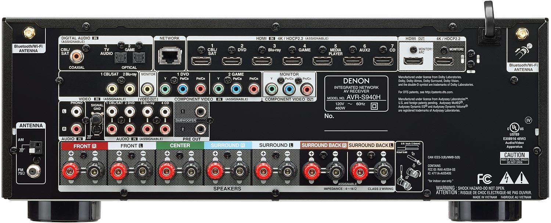 Denon AVR-S940H 7.2-Ch AV Receiver - Rear View