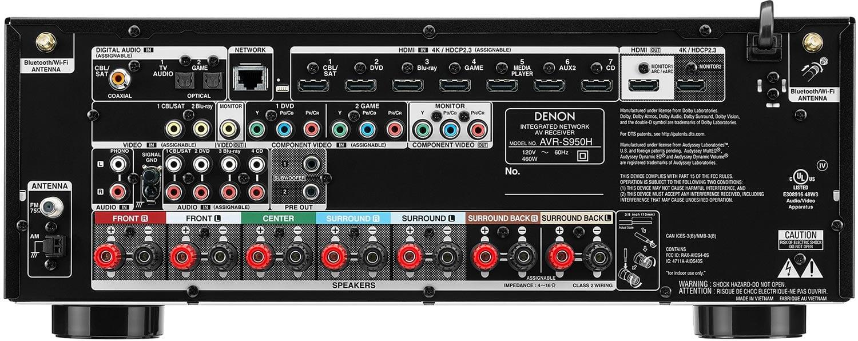 Denon AVR-S950H 7.2-Ch AV Receiver - Rear View
