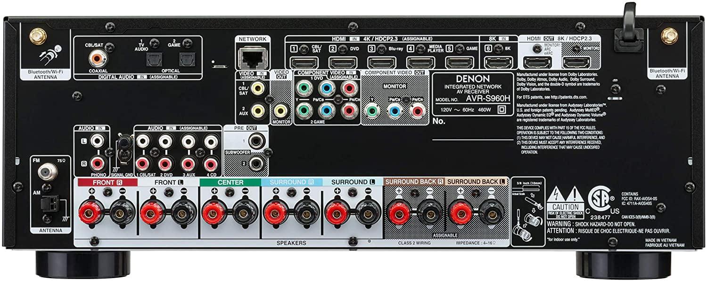 Denon AVR-S960H 7.2-Ch AV Receiver - Rear View
