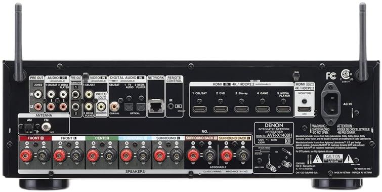Denon Avr-X1400H 7.2-Ch Av Receiver - Rear View