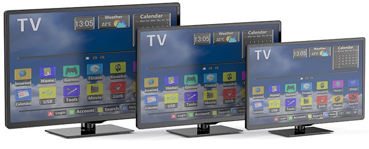 LED TVs in different sizes