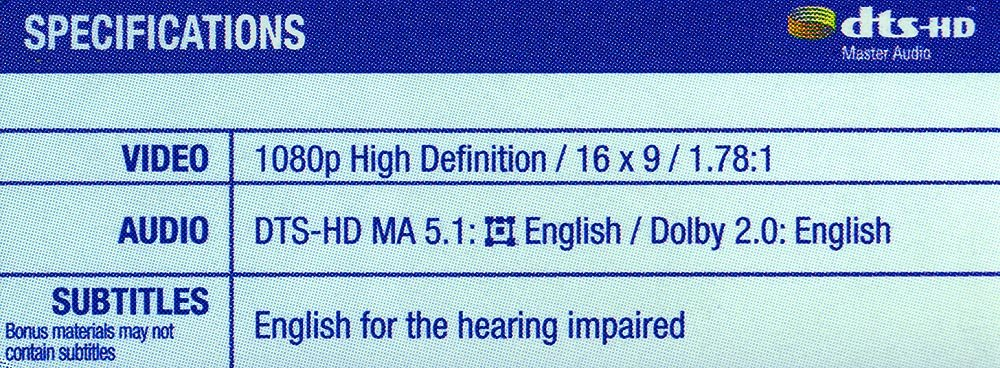 DTS-HD Master Audio 5.1 Track on A Blu-ray Disc