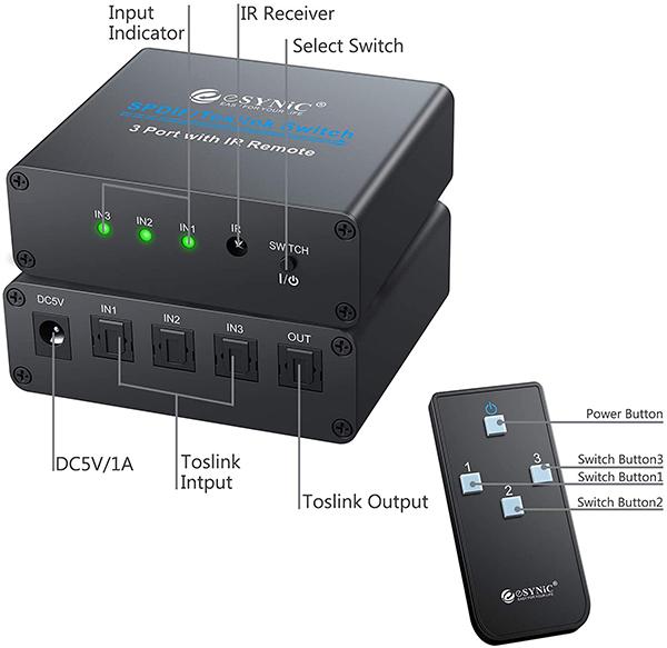 Esynic 3X1 Toslink Optical Digital Audio Switcher