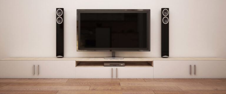 Speaker system connected to a TV