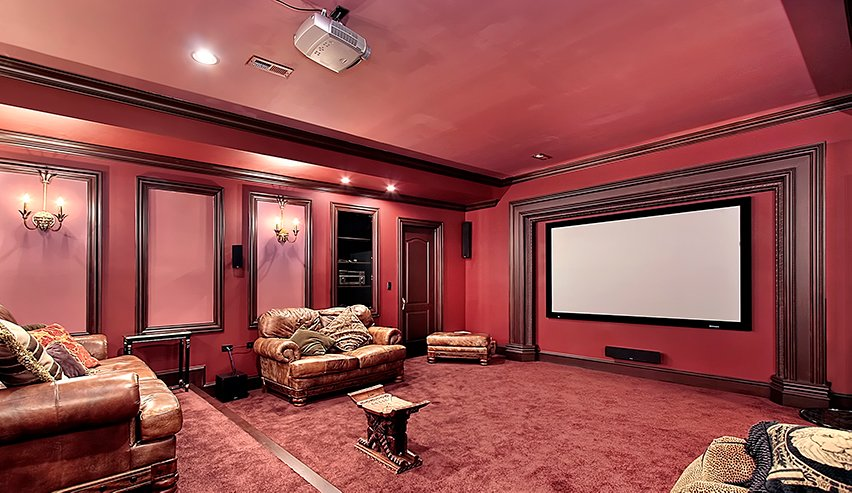Large room with home cinema equipment
