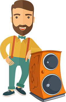 Man Leaning On Home Theater Speaker