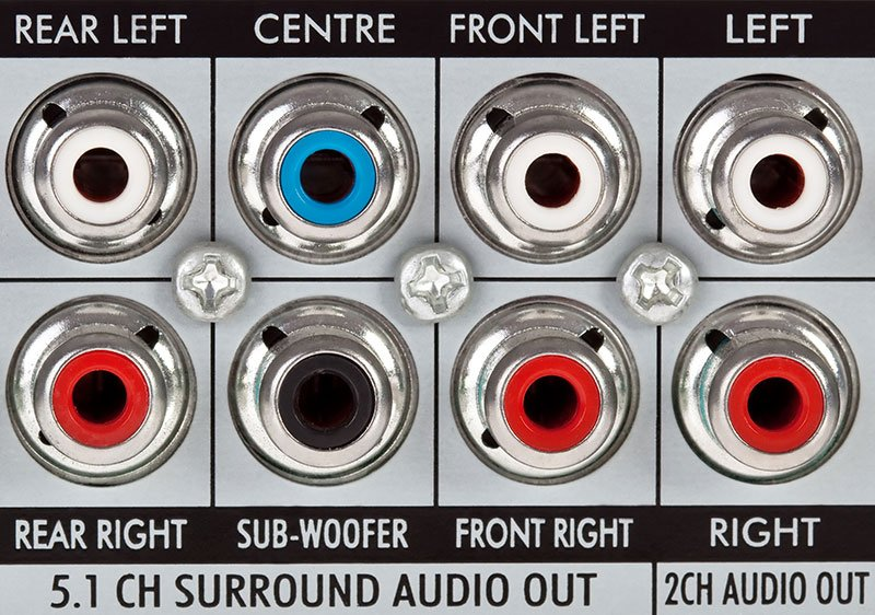 Rca Surround Sound Connections On The Rear Of A Blu-Ray Player