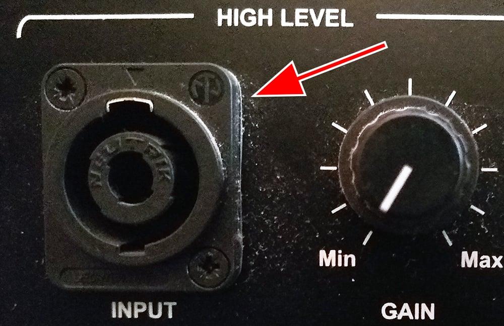 Neutrik Speakon connection on the rear of a subwoofer