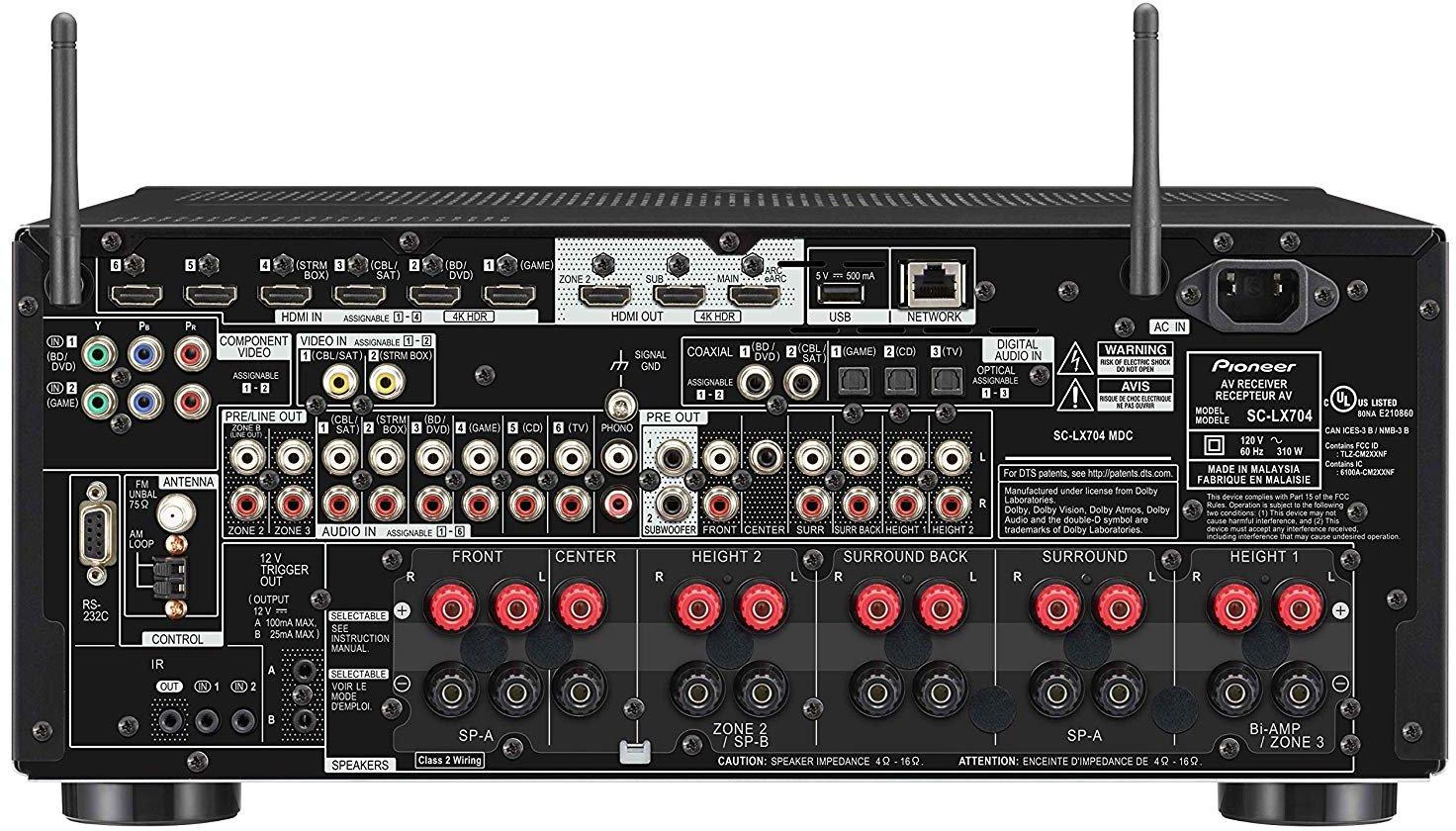 Pioneer Elite Sc-Lx704 9.2-Ch Av Receiver - Rear View