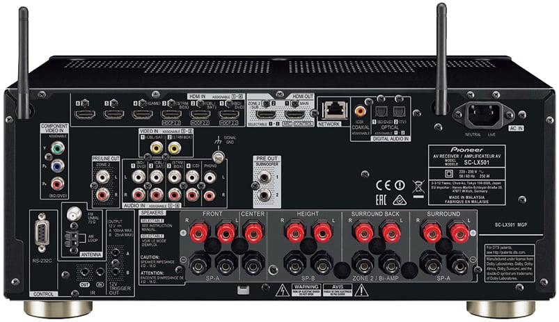 Pioneer Elite Sc-Lx501 7.2-Ch Av Receiver - Rear View