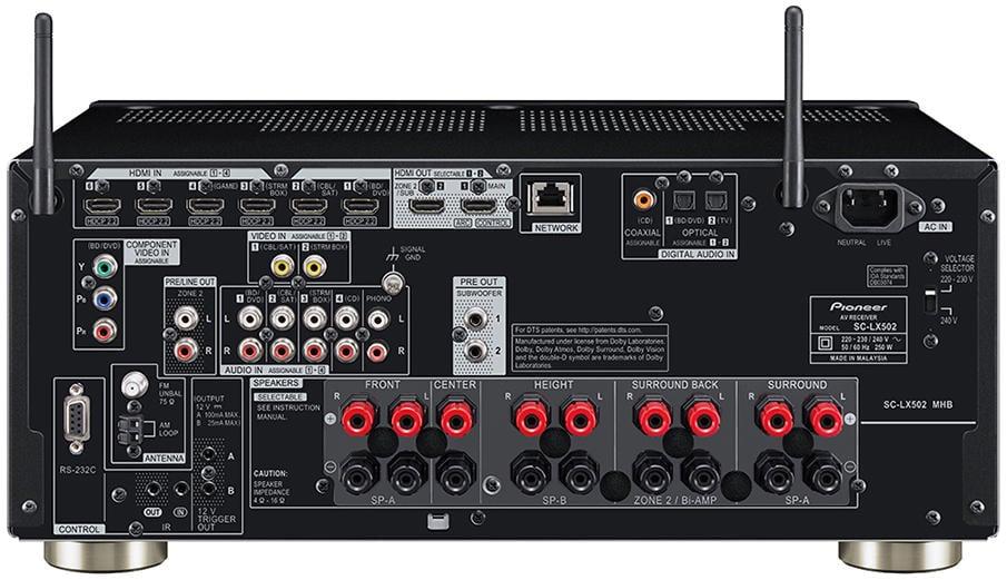 Pioneer Elite Sc-Lx502 7.2-Ch Av Receiver - Rear View