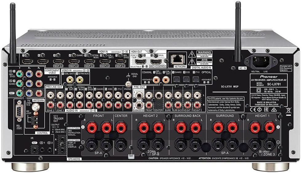 Pioneer Elite Sc-Lx701 9.2-Ch Av Receiver - Rear View