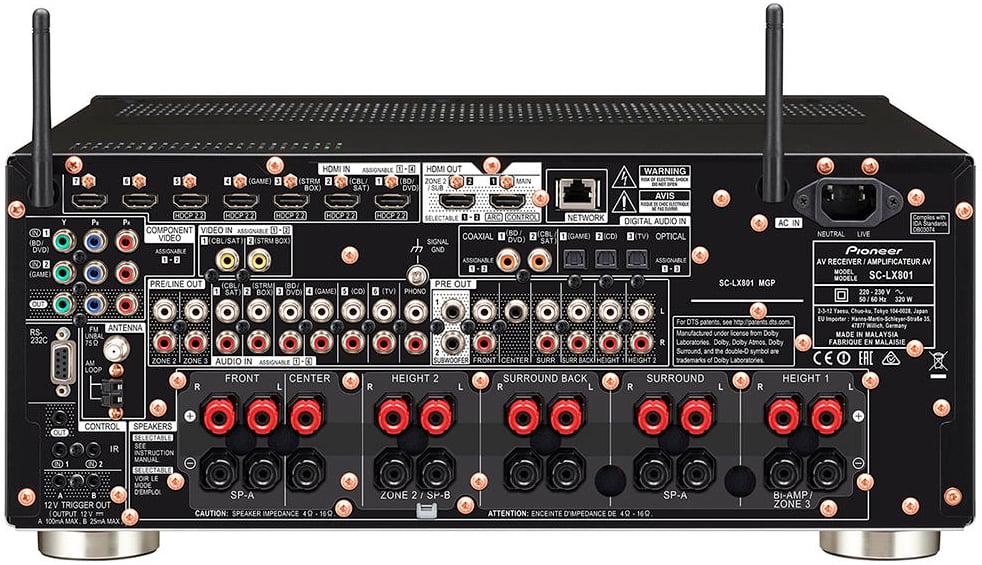 Pioneer Elite Sc-Lx801 9.2-Ch Av Receiver - Rear View