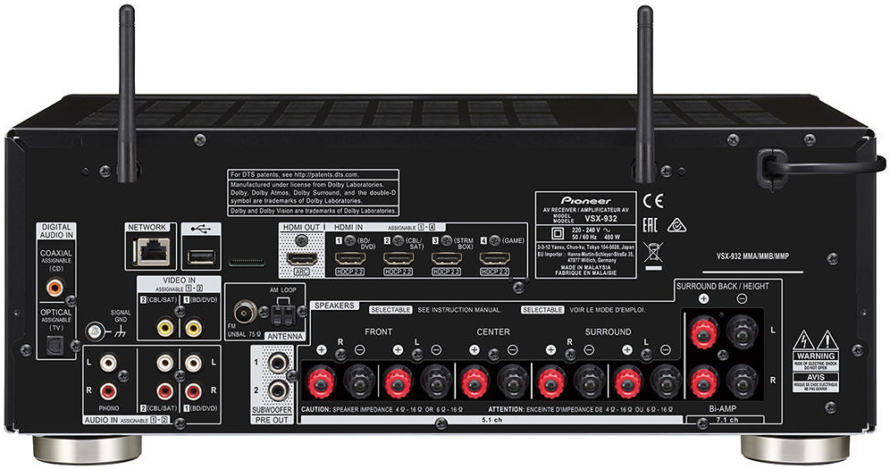 Pioneer Vsx-932 7.2-Ch Av Receiver - Rear View