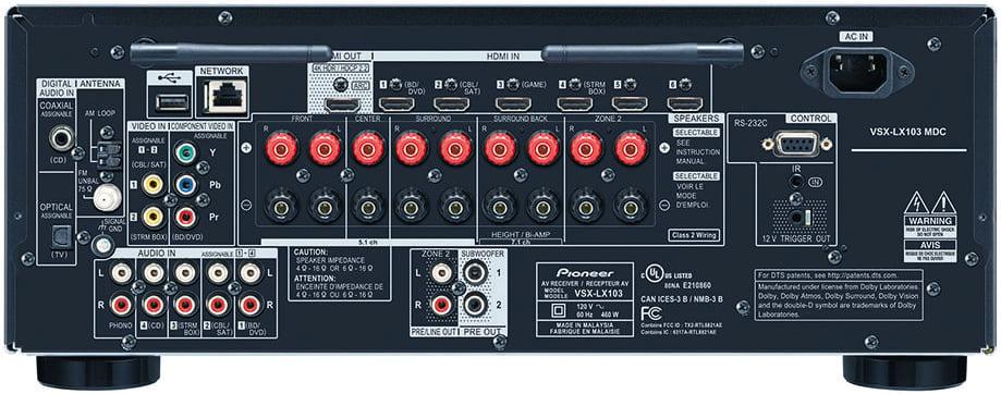 Pioneer Elite Vsx-Lx103 7.2-Ch Av Receiver - Rear View