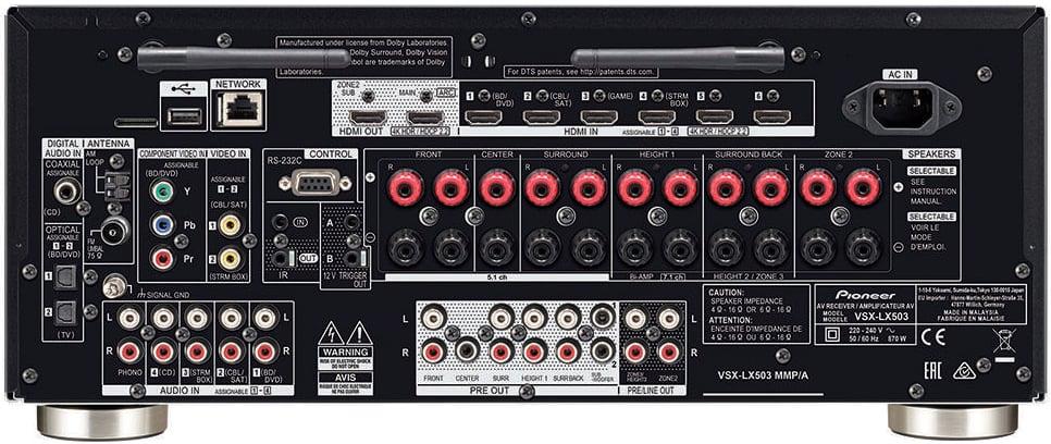 Pioneer Elite Vsx-Lx503 9.2-Ch Av Receiver - Rear View