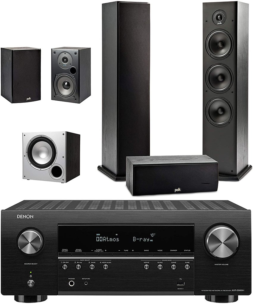 Polk Audio 5.1-Ch Home Theater Speaker System With Denon Avr-S960H Receiver