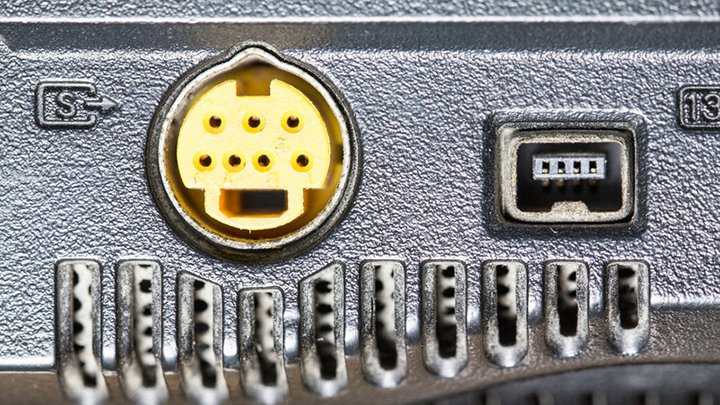 7-Pin S-Video Connector On The Side Of A Laptop