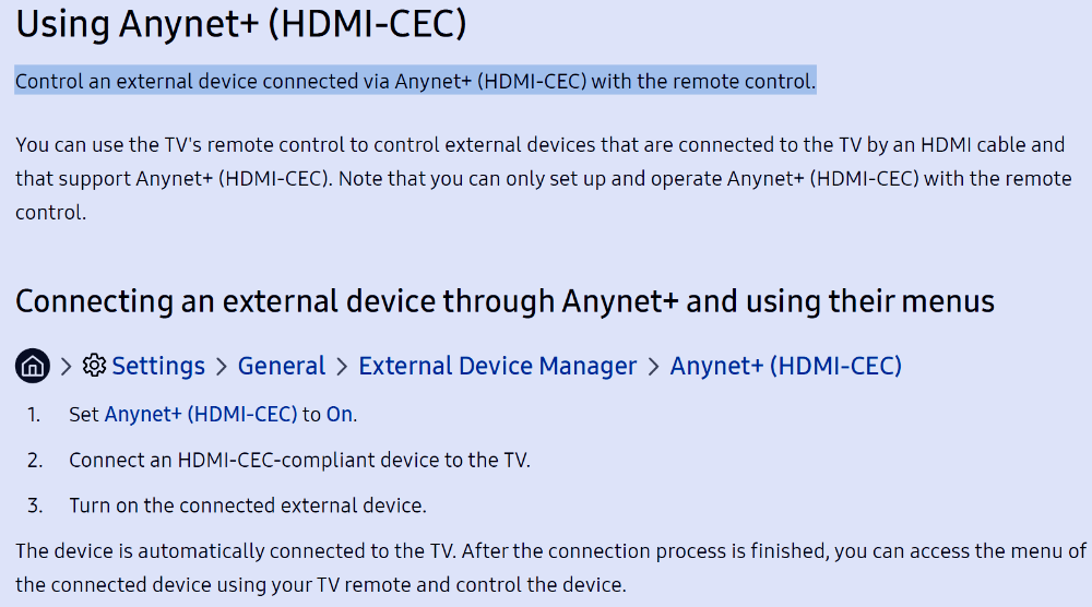 Enabling Anynet+ On A Samsung Tv