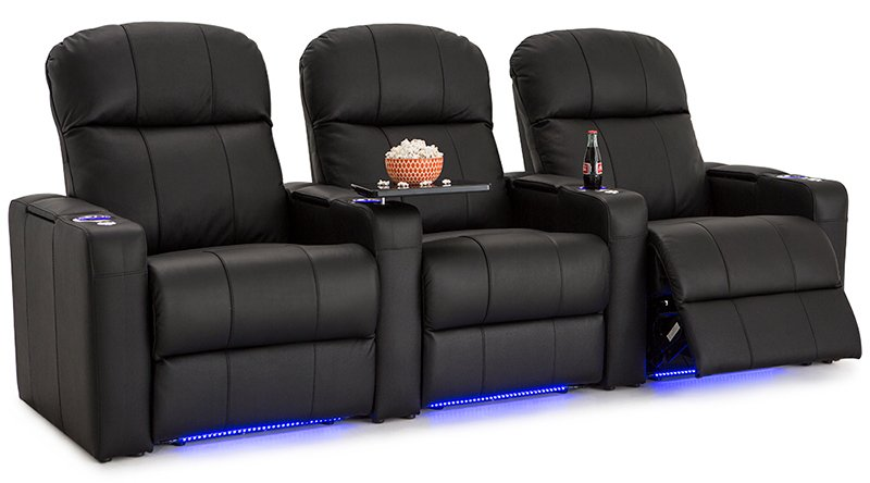 Seatcraft Venetian Row Of 3 Leather Recliners