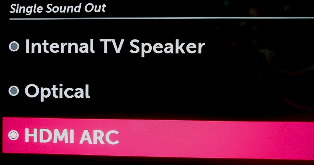 Selecting Hdmi Arc Out On Lg Tv Menu