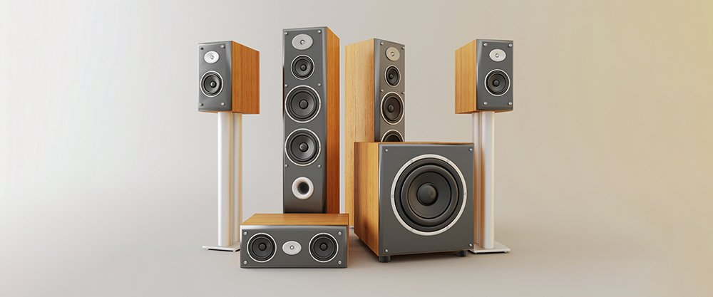 Surround speakers in a room