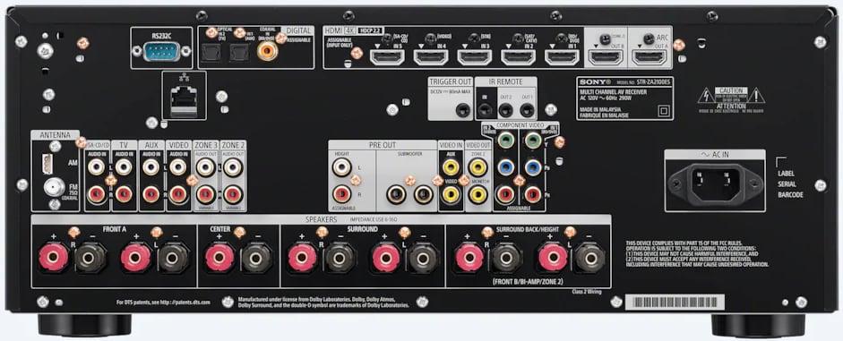 Sony Str-Za1100Es 7.2-Ch Av Receiver - Rear View