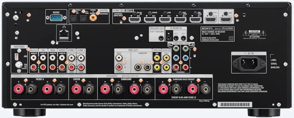 Sony Str-Za2100Es 7.2-Ch Av Receiver - Rear View