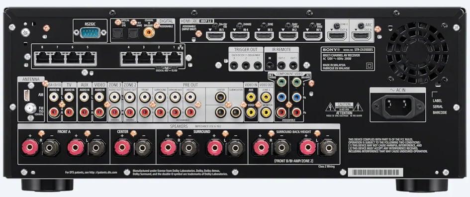 Sony Str-Za3100Es 7.2-Ch Av Receiver - Rear View