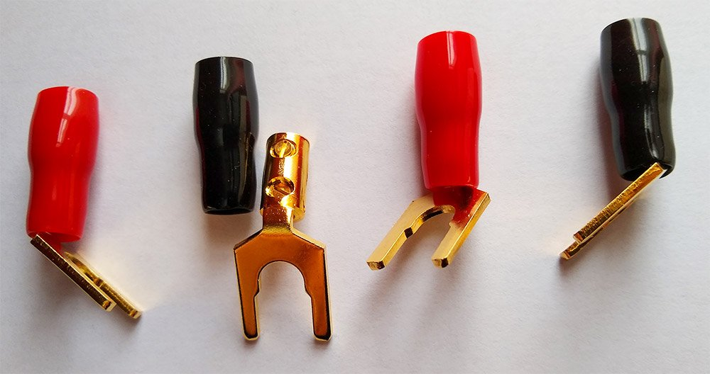 Set Of Four Speaker Wire Spade Connectors