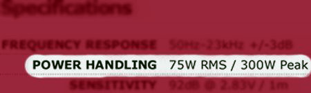 Speaker power handling specification